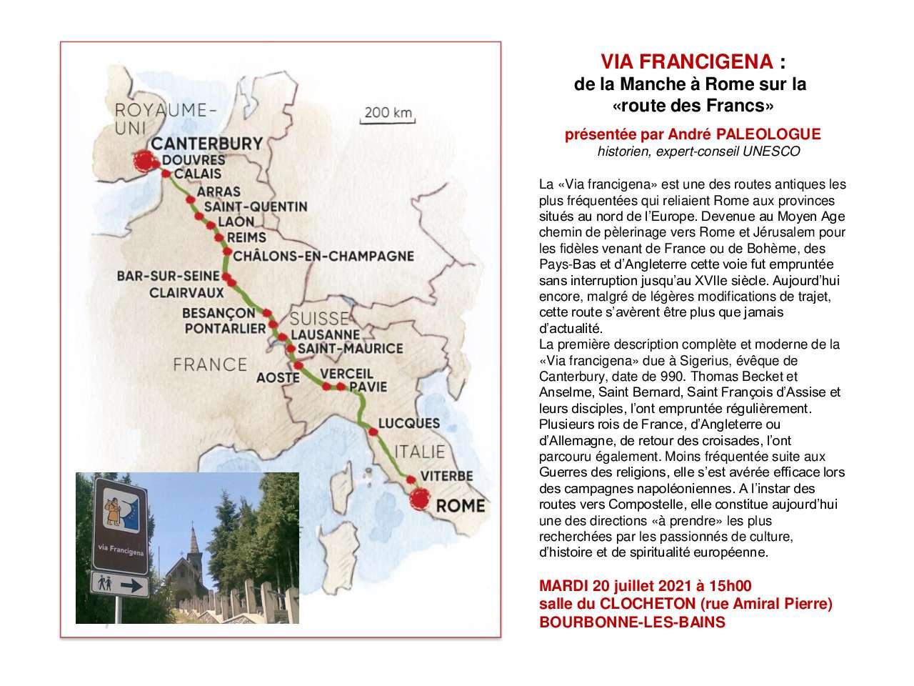 VIA FRANCIGENA : de la Manche à Rome sur la «route des Francs»